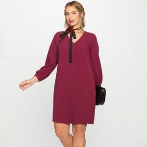Eloquii Burgundy V-Neck Dress, Size 16